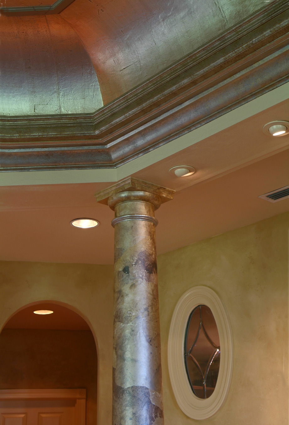 Silver Leaf Decoration Faux Columns In Naples Marco Sanibel Captiva Ft Myers Oguin