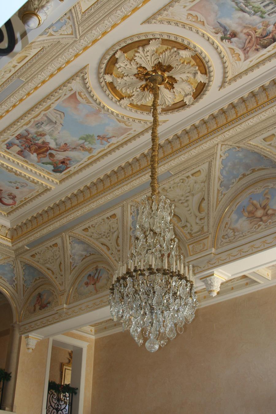 Venetian Plaster Walls Tromp L Oeil Murals 24k Gold Leaf Glazed Moldings